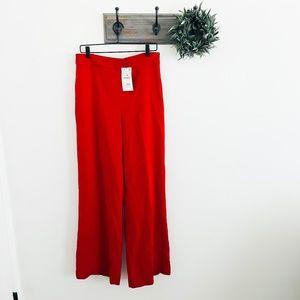 NWT Zara Red Wide Leg Trouser Pants L